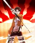 1boy ascot belt black_hair blue_eyes boots cable dual_wielding glowing glowing_eyes highres jacket kiyoo0410 rivaille shingeki_no_kyojin solo sun sword thigh_strap weapon