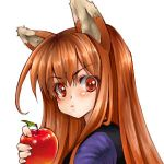 apple apples brown_hair face food fruit holding holding_fruit holo long_hair lowres mosho red_eyes spice_and_wolf