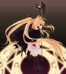 blonde_hair brown_background fate_testarossa frapowa long_hair magic_circle mahou_shoujo_lyrical_nanoha octagram red_eyes star_of_lakshmi thigh-highs thighhighs twintails very_long_hair