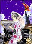 car cherry_blossoms flag grey_hair japanese_clothes motor_vehicle nail_polish original petals short_hair silver_hair umbrella vehicle