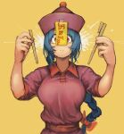 1girl blue_hair bow breasts broken_chopsticks chanta_(ayatakaoisii) chopsticks closed_mouth dress hair_bow half-split_chopsticks highres holding holding_chopsticks huge_breasts jiangshi jiangshi_(chanta) long_hair looking_at_viewer newtype_flash ofuda_on_clothes original red_bow red_dress red_eyes sash short_sleeves solo sweat translation_request upper_body wide-eyed yellow_background