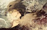 1boy alternate_costume artist_name bakugou_katsuki bangs bare_tree blonde_hair boku_no_hero_academia closed_mouth earrings facial_mark facing_to_the_side from_side fur_trim highres jewelry profile red_eyes ryo_(piggerworld) short_hair skull skull_on_head tree upper_body