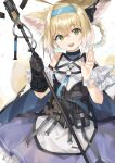 1girl absurdres animal_ears arknights arm_cuffs bag black_choker black_gloves black_vest blonde_hair breasts choker cloak commentary cowboy_shot dress earpiece eyebrows_visible_through_hair fox_ears fox_tail gloves green_eyes hair_between_eyes hair_rings hairband head_tilt highres holding holding_staff looking_at_viewer medium_hair motota multicolored_hair multiple_tails open_mouth petals satchel simple_background small_breasts smile solo staff strap suzuran_(arknights) tactical_clothes tail two-tone_hair vest waving white_background white_dress white_hair wrist_cuffs