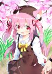 1girl 1other absurdres animal_ear_fluff animal_ears azur_lane brown_dress brown_headwear cat_ears cat_tail cherry_blossoms dress fang flower hat highres holding_hands kisaragi_(azur_lane) long_hair nail_polish open_mouth outdoors petals pink_eyes pink_hair pone ribbon shirt smile tail tree two_side_up watch watch white_shirt