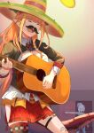 2girls absurdres acoustic_guitar amane_kanata bow boyal closed_eyes diagonal-striped_bow door doorway dragon_girl dragon_horns dragon_tail eyebrows_visible_through_hair fake_facial_hair fake_mustache guitar hat highres hololive horn_bow horns instrument kiryuu_coco long_hair multicolored_hair multiple_girls music nightcap open_mouth orange_hair pajamas pointy_ears short_hair silver_hair singing sombrero tail twitter_username virtual_youtuber