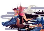 1girl arm_tattoo charlotte_linlin coat colored dragon dragon_claw dragon_horns dress earrings floating_hair hair_ribbon hat heels k164 kaido nail_polish one_piece pink_hair simple_background size_difference
