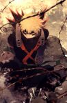1boy alternate_costume artist_name bakugou_katsuki belt black_footwear black_pants black_shirt blonde_hair boku_no_hero_academia boots covered_mouth gloves hair_ornament highres looking_at_viewer male_focus mask mouth_mask outdoors pants red_eyes ryo_(piggerworld) shirt short_hair sitting solo weapon