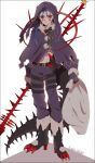 1boy age_regression alternate_costume bag belt blue_hair bodypaint boots capelet christmas claws closed_mouth cu_chulainn_(fate)_(all) cu_chulainn_alter_(fate/grand_order) dark_persona earrings facepaint fate/grand_order fate_(series) frown full_body gae_bolg gloves hair_strand high_heel_boots high_heels highres holding holding_bag hood hood_up jewelry male_focus monster_boy namahamu_(hmhm_81) navel pants ponytail red_eyes solo tail type-moon white_background younger