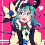 1girl black_headwear blue_flower blue_rose blush bow bright_pupils commentary_request flower green_eyes green_hair hands_on_own_cheeks hands_on_own_face hands_up hat hat_bow hat_flower heart heart-shaped_pupils komeiji_koishi long_sleeves looking_at_viewer open_mouth pink_background rose shirt short_hair smile solo symbol-shaped_pupils third_eye touhou upper_body white_pupils wide_sleeves yellow_bow yellow_shirt you_(noanoamoemoe)