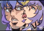 2girls face face_licking ganyu_(genshin_impact) genshin_impact hair_ornament half-closed_eyes highres jojo_no_kimyou_na_bouken licking multiple_girls open_mouth parody purple_hair qiqi sweatdrop taste_of_a_liar text_focus tongue tongue_out translation_request wide-eyed