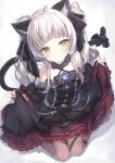 1girl :3 animal_ears blush cat_ears cat_tail detached_sleeves dress frilled_dress frills gothic_lolita hair_ribbon highres hololive lolita_fashion looking_at_viewer murasaki_shion pantyhose ribbon silver_hair simple_background solo tail tail_ornament tail_ribbon topia virtual_youtuber white_background yellow_eyes