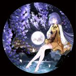 1girl architecture bare_legs barefoot bug butterfly chain circle closed_eyes east_asian_architecture feet flower frame full_moon hair_flower hair_ornament in_tree insect instrument moon music night night_sky playing_instrument purple_hair seeker short_hair sitting sitting_in_tree sky touhou tree tsukumo_benben water_surface wisteria