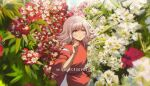 1girl alternate_costume bangs blurry blush commentary cosplay criis-chan depth_of_field english_commentary eyebrows_visible_through_hair flipped_hair flower hakama hand_up japanese_clothes kimono light_brown_hair looking_at_viewer medium_hair nanami_chiaki ogino_chihiro ogino_chihiro_(cosplay) open_mouth outdoors pink_eyes red_flower sen_to_chihiro_no_kamikakushi short_sleeves solo twitter_username upper_body white_flower