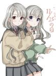 2girls :o bangs black_ribbon blue_eyes braid braided_bangs brown_cardigan brown_eyes cardigan collared_shirt commentary_request dated earrings eyebrows_visible_through_hair finger_gun good_twins_day green_cardigan grey_hair grey_skirt hair_over_shoulder hair_ribbon highres hisakawa_hayate hisakawa_nagi idolmaster idolmaster_cinderella_girls idolmaster_cinderella_girls_starlight_stage jewelry long_hair long_sleeves looking_at_viewer low_twintails multiple_girls necktie parted_lips pleated_skirt puffy_long_sleeves puffy_sleeves red_neckwear ribbon shirt shiwa_(siwaa0419) siblings simple_background sisters skirt sleeves_past_wrists translation_request twins twintails very_long_hair white_background white_shirt