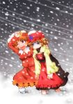 2girls aki_minoriko aki_shizuha apron arm_around_back arm_on_head arm_up arms_at_sides black_skirt blizzard blonde_hair blush commentary_request eyebrows_visible_through_hair fang food_themed_hair_ornament grape_hair_ornament hair_ornament hat highres juliet_sleeves leaf_hair_ornament long_sleeves looking_to_the_side matty_(zuwzi) mob_cap multiple_girls one_eye_closed open_mouth puffy_sleeves red_apron red_eyes red_headwear red_shirt red_skirt shaded_face shirt short_hair siblings sisters skin_fang skirt snow_on_head snowing tearing_up touhou walking white_legwear yellow_shirt