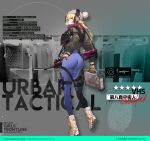 artist_request ass beanie blonde_hair blue_eyes bodysuit bodysuit_under_clothes boots braid briefcase bubble_blowing bullpup chewing_gum dimples_of_venus from_behind full_body girls_frontline gloves hand_on_hip hat headphones holster jacket long_hair looking_back official_alternate_costume official_art orange_gloves single_braid standing thigh_holster vest vhs-d2 vhs_(girls_frontline)