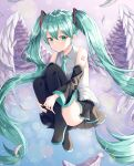 1girl aqua_eyes aqua_hair aqua_neckwear ass black_footwear black_skirt black_sleeves blue_background boots collared_shirt commentary detached_sleeves ekina_(1217) eyebrows_visible_through_hair eyelashes feathered_wings feathers floating full_body gradient gradient_background hair_between_eyes hair_ornament hatsune_miku highres leg_hug lens_flare long_hair looking_at_viewer necktie pleated_skirt purple_background shadow shiny shiny_skin shirt sidelocks skirt sleeveless sleeveless_shirt solo thigh-highs thigh_boots twintails very_long_hair vocaloid white_shirt wings