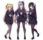 3girls absurdres alternate_costume arm_at_side armband bangs black_bow black_footwear black_gloves black_hair black_legwear black_serafuku black_shirt black_skirt blonde_hair blush bow breast_hold breasts brown_legwear card closed_mouth commentary_request double_bun eyepatch fischl_(genshin_impact) full_body genshin_impact gloves green_eyes hair_bow hair_ornament hand_on_hip highres holding holding_card holding_hair keqing large_breasts loafers long_hair long_sleeves looking_at_viewer medium_breasts mona_(genshin_impact) multiple_girls neckerchief pantyhose partially_fingerless_gloves pleated_skirt purple_hair revision school_uniform serafuku shirt shoes simple_background single_glove skirt skirt_hold smile standing torriet twintails two_side_up violet_eyes white_background