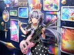 dress grey_hair guitar long_hair shoujo_kageki_revue_starlight smile violet_eyes yukishiro_akira