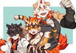 2boys aak_(arknights) animal_ears arknights arm_up bangs bare_shoulders black_tank_top brown_fur cat_boy character_request dog_boy dog_ears dog_tail flexing furry glasses hair_over_one_eye highres horns hung_(arknights) medium_hair multicolored_hair multiple_boys muscle one_eye_covered orange_eyes orange_hair pectorals pose single_horn smile st05254 streaked_hair tail tank_top tiger_tail two-tone_fur upper_body waai_fu_(arknights) white_fur white_hair