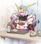 1boy armor belt black_eyes black_hair bowl breath can chair cluseller commentary_request cosplay drink feeding food glowing gundam gundam_unicorn hand_up helmet holding indoors long_hair long_sleeves male_focus mouth_hold naruto naruto_(series) neon_trim open_mouth orochimaru plate rope shirt short_over_long_sleeves short_sleeves shoulder_armor sitting slit_pupils snake soda_can solo soup spoon table translation_request unicorn_gundam unicorn_gundam_(cosplay) what white_skin yellow_sclera yellow_shirt