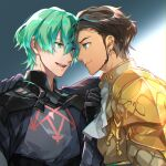 2boys :d aqua_eyes aqua_hair arm_around_shoulder armor bangs black_gloves brown_hair byleth_(fire_emblem) byleth_(fire_emblem)_(male) cbe39373 claude_von_riegan closed_mouth cravat dark_skin dark_skinned_male earrings fire_emblem fire_emblem:_three_houses gloves gold_armor green_eyes grey_background hair_between_eyes highres jewelry long_sleeves looking_at_another male_focus multiple_boys open_mouth short_hair shoulder_armor sideburns smile two-tone_background upper_body white_background white_neckwear