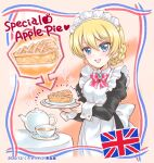 1girl alternate_costume apple_pie apron arrow_(symbol) bangs black_dress blonde_hair blue_eyes blush bow bowtie braid brooch cup darjeeling_(girls_und_panzer) dress english_text enmaided eyebrows_visible_through_hair food frilled_dress frills girls_und_panzer holding holding_food jewelry juliet_sleeves kuromori_yako long_sleeves looking_at_viewer maid maid_apron maid_headdress open_mouth plate puffy_sleeves red_bow saucer short_hair smile sparkle swept_bangs table teacup teapot union_jack