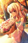 1girl bangs bare_shoulders blonde_hair bouquet closed_mouth collarbone commentary_request detached_sleeves dress earrings eyebrows_behind_hair fate/kaleid_liner_prisma_illya fate_(series) fence flower glasses hair_between_eyes highres holding holding_bouquet illyasviel_von_einzbern jewelry long_hair long_sleeves looking_at_viewer outdoors over-rim_eyewear pendant pink_flower pink_rose red-framed_eyewear red_eyes rose sasatabekung see-through see-through_sleeves semi-rimless_eyewear sleeveless sleeveless_dress sleeves_past_wrists smile solo sunset tree white_dress white_flower white_rose white_sleeves wide_sleeves