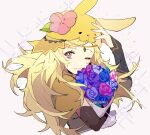 1girl animal_ears blonde_hair circlet closed_mouth elley226 fire_emblem fire_emblem_fates fire_emblem_heroes flower grey_eyes hair_flower hair_ornament hand_on_own_head highres in long_hair looking_at_viewer ophelia_(fire_emblem) rabbit_ears simple_background smile sparkle upper_body