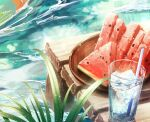 cluseller commentary cropped cup day drink drinking_glass drinking_straw food fruit highres ice ice_cube light_particles no_humans original outdoors pier plant plate still_life water watermelon watermelon_seeds watermelon_slice wood
