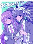 2girls bangs black_eyes black_nails blunt_bangs blush braid celestia_ludenberck center_frills character_name criis-chan cup danganronpa danganronpa_1 drill_hair eyebrows_visible_through_hair frills gloves green_background hair_ribbon holding holding_cup jacket kirigiri_kyouko limited_palette lolita_fashion long_hair long_sleeves looking_at_viewer multiple_girls necktie one_eye_closed pink_neckwear purple_hair ribbon side_braid smile spilling star_(symbol) star_print symbol_commentary teacup translation_request twin_drills twintails upper_body
