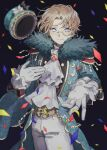 1boy black_background blonde_hair blue_eyes blurry coat coattails confetti cravat depth_of_field epaulettes freckles frilled_sleeves frills fur_trim gloves gumegume hand_on_own_chest hat hat_removed headwear_removed highres identity_v looking_at_viewer male_focus mike_morton monocle outstretched_arm short_hair simple_background smile solo star_(symbol) star_in_eye symbol_in_eye top_hat white_gloves