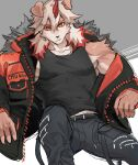 1boy animal_ears ao_(chung0u0) arknights bangs belt black_pants black_tank_top brown_fur dog_boy dog_ears dog_tail furry highres horns hung_(arknights) jacket leg_up male_focus medium_hair multicolored_hair muscle open_clothes open_jacket orange_eyes orange_hair orange_jacket pants pectorals red_horns single_bare_shoulder single_horn sketch solo streaked_hair tail tank_top two-tone_fur white_fur white_hair