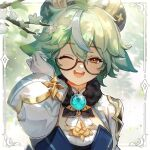 1girl absurdres ahoge animal_ears artist_request branch english_commentary eyebrows_visible_through_hair flower fur_trim genshin_impact glasses gloves green_hair hair_between_eyes hat highres long_sleeves multicolored_hair official_art one_eye_closed open_mouth orange_eyes short_hair solo streaked_hair sucrose_(genshin_impact) upper_body upper_teeth vision_(genshin_impact) white_flower white_gloves white_hair