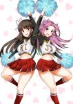 2girls absurdres black_hair breasts cheering cheerleader eyebrows_visible_through_hair hair_ribbon heart heart_background highres hime_cut hiyou_(kantai_collection) holding holding_pom_poms jun'you_(kantai_collection) kantai_collection large_breasts long_hair long_sleeves looking_at_viewer midriff minase_(takaoka_nanase) multiple_girls navel open_mouth pleated_skirt pom_poms purple_hair red_eyes red_legwear ribbon skirt sweat thighs violet_eyes