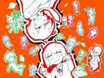 #compass alien_alien_(vocaloid) andromeda_andromeda_(vocaloid) andromedako andromedao antennae bangs blunt_bangs bob_cut cardigan coke-bottle_glasses dance_robot_dance_(vocaloid) dancing fan glasses gleam highres hikou_shoujo_(vocaloid) how_to_warp_(vocaloid) jitome kinsei_no_dance_(vocaloid) multiple_boys multiple_girls nayutan_sei_kara_no_buttai necktie nyannyanteki_uchuuron_(vocaloid) perfect_seimei_(vocaloid) pleated_skirt red_background rocket_cider_(vocaloid) school_uniform short_hair simple_background skirt songover stratostella_(vocaloid) suisei_honeymoon_(vocaloid) taiyoukei_disco_(vocaloid) voidoll wakusei_loop_(vocaloid) yu_ukamu