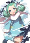 1girl absurdres blue_coat blue_eyes blue_footwear blush boots coat commentary_request eyelashes fingernails floating_scarf gen_3_pokemon green_hair hair_ornament head_tilt highres legendary_pokemon long_sleeves looking_at_viewer open_mouth personification pokemon pokemon_(creature) regice scarf sleeves_past_wrists smile snowflakes solo taisa_(lovemokunae) white_scarf