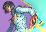 1boy absurdres black_hair blue_eyes bob_cut bruno_buccellati chanta_(ayatakaoisii) cleavage_cutout closed_mouth clothing_cutout hair_ornament highres jacket jojo_no_kimyou_na_bouken long_sleeves looking_at_viewer male_focus purple_background simple_background solo vento_aureo white_jacket zipper