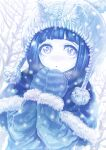 1girl :o bare_tree blue_capelet blue_coat blue_hair blue_mittens blue_theme capelet coat covered_horns fur-trimmed_capelet fur_trim guchico hands_up highres horns long_sleeves looking_at_viewer mittens oni original pale_skin parted_lips snow solo tree upper_body winter_clothes winter_coat