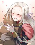 1girl :d bangs black_shirt blush brown_background cape closed_eyes commentary_request edelgard_von_hresvelg facing_viewer fire_emblem fire_emblem:_three_houses forehead gradient gradient_background hair_ribbon highres long_hair long_sleeves object_hug open_mouth parted_bangs petals purple_ribbon qi'e_(penguin) red_cape ribbon shirt silver_hair smile solo stuffed_animal stuffed_toy teddy_bear upper_body white_background