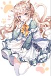 1girl :d animal_ear_fluff animal_ears apron bangs blue_nails blush bow cat_ears cat_girl cat_tail claw_pose collared_dress commentary_request dress eyebrows_visible_through_hair fang fish_hair_ornament frilled_apron frills full_body green_dress grey_eyes hair_between_eyes hair_ornament hand_up highres light_brown_hair long_hair long_sleeves looking_at_viewer m1yu maid nail_polish open_mouth orange_bow original smile solo tail tail_raised thigh-highs twintails very_long_hair white_apron white_background white_legwear