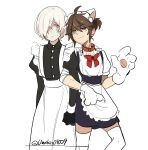 2boys ahoge albino alternate_costume andrew_kreiss animal_ears apron artist_name brown_hair bruise bruised_eye cat_ears cat_paws collar crossdressing dress enmaided eyebrows_visible_through_hair fake_animal_ears frills green_eyes hair_over_one_eye identity_v injury long_sleeves looking_at_viewer luca_balsa maid maid_apron maid_headdress male_focus multiple_boys paws ponytail puffy_sleeves red_eyes ribbon short_hair short_sleeves simple_background smile sweat thigh-highs twitter_username umeko0809 white_background white_hair