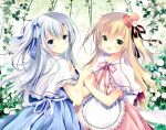 2girls :d apron black_ribbon blonde_hair blue_bow blue_dress blue_eyes blue_flower blue_rose blush bow capelet closed_mouth commentary_request dress flower frilled_apron frills good_twins_day green_eyes hair_bow hair_flower hair_ornament hair_ribbon hat long_hair looking_at_viewer looking_to_the_side mini_hat mini_top_hat multiple_girls one_side_up open_mouth original pink_dress red_headwear ribbon rose shirogane_hina siblings silver_hair sisters smile striped striped_bow tilted_headwear top_hat twins vertical-striped_dress vertical_stripes very_long_hair waist_apron white_apron white_capelet white_flower white_ribbon white_rose