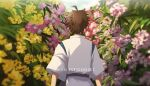 1boy ahoge brown_hair commentary cosplay criis-chan danganronpa day english_commentary facing_away flower from_behind haku_(sen_to_chihiro_no_kamikakushi) haku_(sen_to_chihiro_no_kamikakushi)_(cosplay) hinata_hajime male_focus outdoors pink_flower sen_to_chihiro_no_kamikakushi shirt short_hair sleeves_past_elbows solo spiky_hair super_danganronpa_2 twitter_username upper_body white_shirt yellow_flower