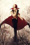 1boy artist_name bangs belt black_cape black_pants boku_no_hero_academia boots branch brown_footwear burn_scar cape english_commentary full_body gloves highres knee_boots long_sleeves looking_at_viewer male_focus multicolored_hair outdoors pants red_belt red_cape redhead ryo_(piggerworld) scar shirt short_hair solo standing todoroki_shouto tree two-tone_hair vampire_costume white_gloves white_hair white_shirt