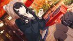 black_hair blush dress idolmaster idolmaster_shiny_colors kazano_hiori long_hair violet_eyes