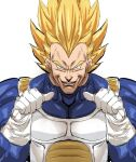1boy blonde_hair blue_bodysuit bodysuit bow_(bhp) breastplate commentary dragon_ball dragon_ball_z english_commentary gloves green_eyes grin looking_at_viewer muscle pointing pointing_at_self saiyan_armor sanpaku simple_background smile solo super_saiyan super_saiyan_2 upper_body vegeta veins white_background white_gloves