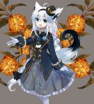 1girl :d ahoge animal_ear_fluff animal_ears bangs black_hairband black_headwear black_jacket black_vest blue_bow blue_flower blue_rose bow braid brown_flower collared_shirt cyawa eyebrows_visible_through_hair flower fox_ears fox_girl fox_tail frilled_skirt frills gloves green_eyes grey_background grey_skirt hair_between_eyes hairband hat highres hololive jacket long_hair long_sleeves looking_at_viewer mini_hat mini_top_hat open_mouth pantyhose pleated_skirt rose shirakami_fubuki shirt silver_hair simple_background skirt smile solo tail tail_raised tilted_headwear top_hat very_long_hair vest virtual_youtuber white_gloves white_legwear white_shirt