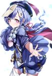 1girl absurdres azarashi_(azrsot) beads blue_hair blurry blush braid braided_ponytail cape closed_mouth commentary_request contrapposto cowboy_shot depth_of_field earrings genshin_impact gold_trim hair_ornament hat highres jewelry jiangshi looking_at_viewer necklace ofuda outstretched_arms pink_eyes qing_guanmao qiqi short_hair simple_background snowflakes solo standing tassel thigh-highs white_background white_legwear wide_sleeves