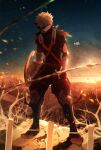 1boy artist_name bakugou_katsuki black_footwear black_pants blonde_hair boku_no_hero_academia boots city embers explosive eye_mask fence full_body grenade looking_at_viewer male_focus outdoors pants red_footwear redhead ryo_(piggerworld) short_hair solo spiky_hair standing sunset sword torn_clothes tree weapon